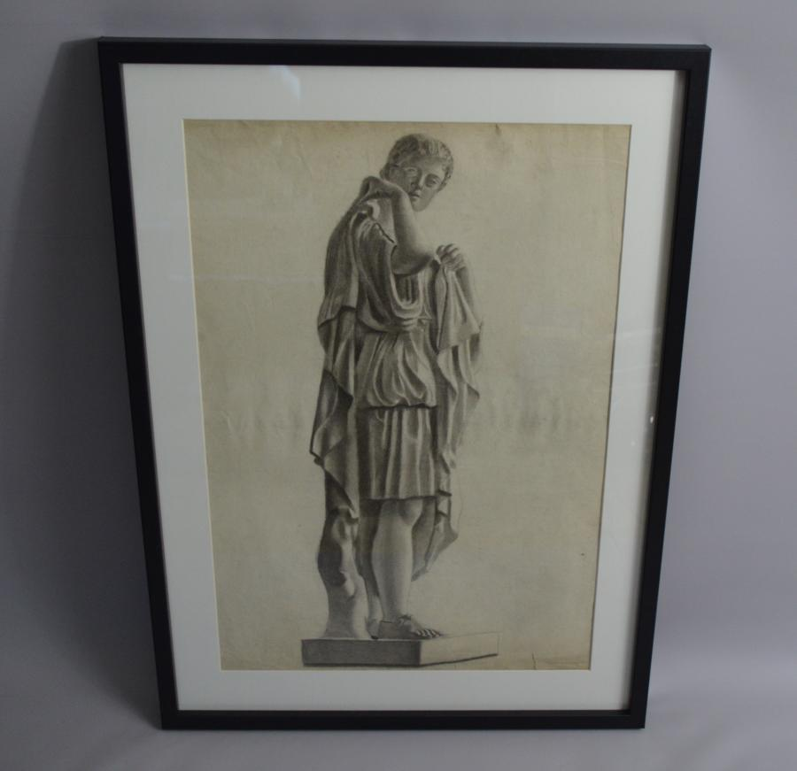 Classical Charcoal Drawing Of A Roman c1900