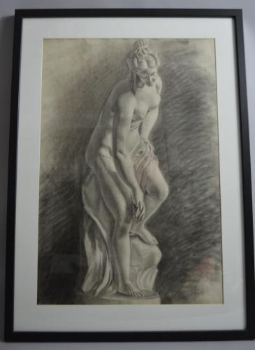 Charcoal Drawing Of A Roman Lady Bathing