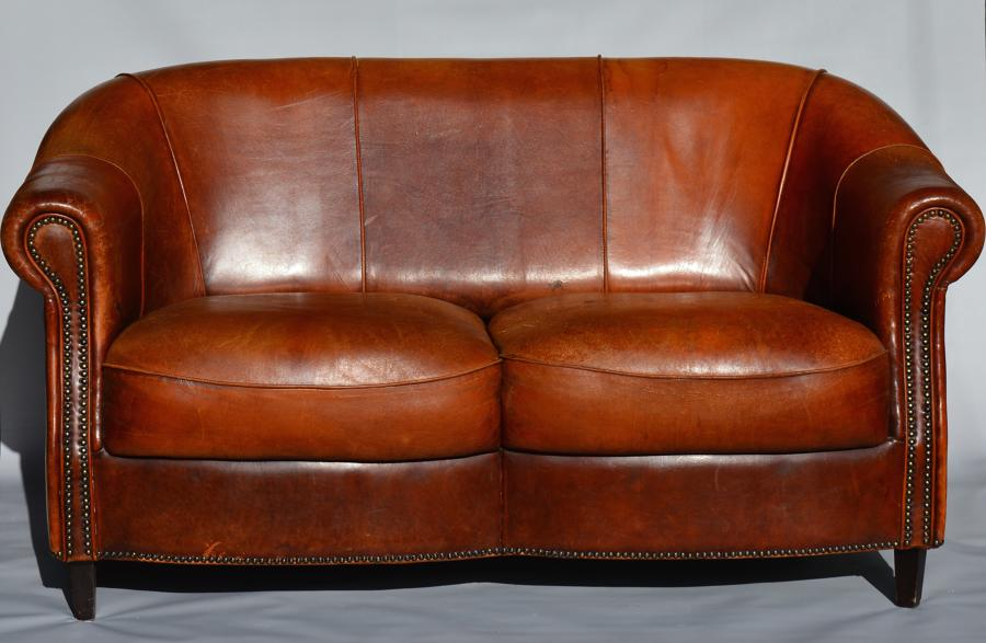 2 Seater French Leather Sofa