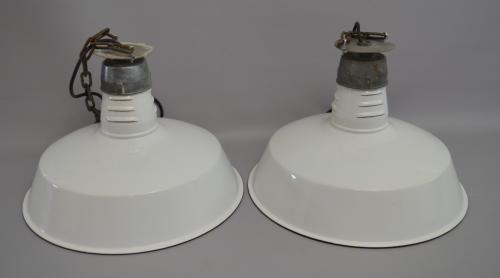 1950's White Enamel Factory Lights