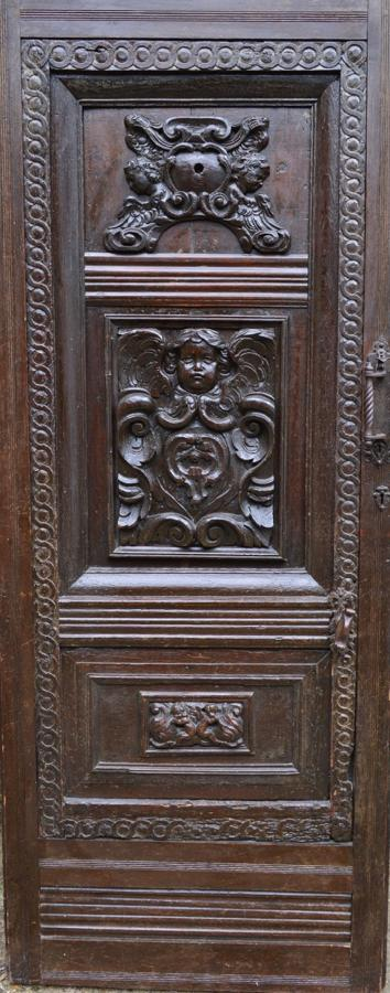 Early 19th Century Carved Oak Door