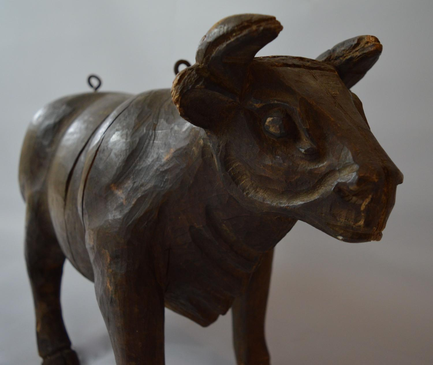 19th Century Carved wood Cow