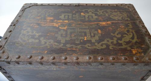19th Century Studded Oriental Painted Box