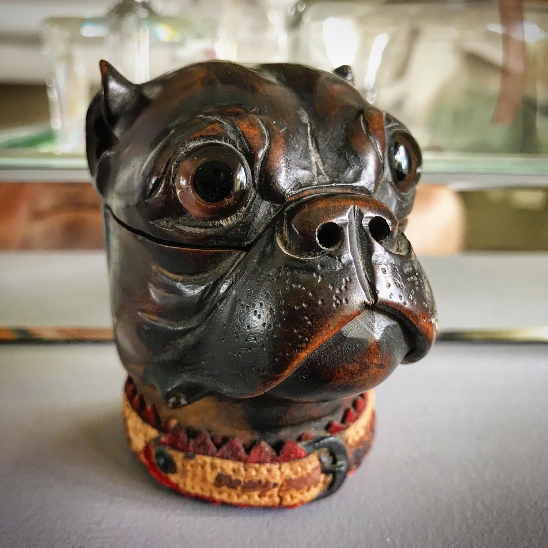 19th Century Bull Dog Ink Well