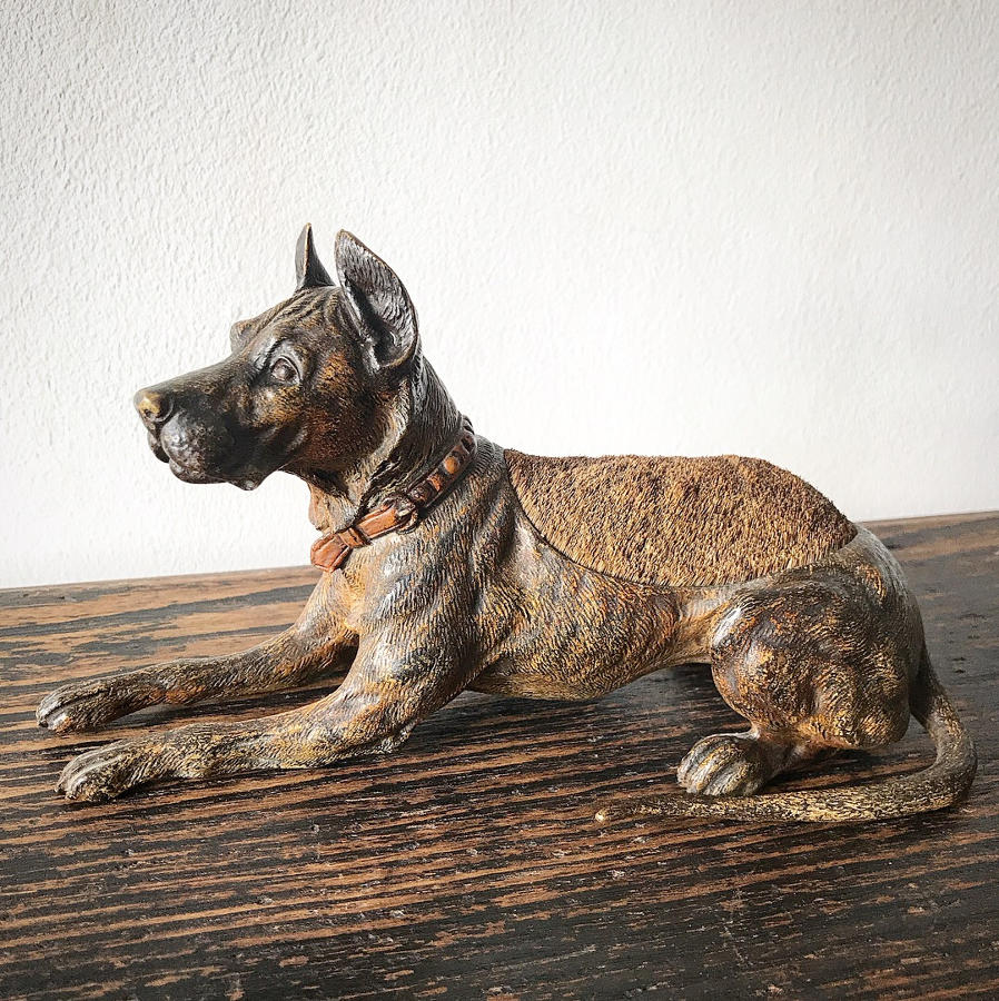 19th Century Cold Painted Bronze Dog