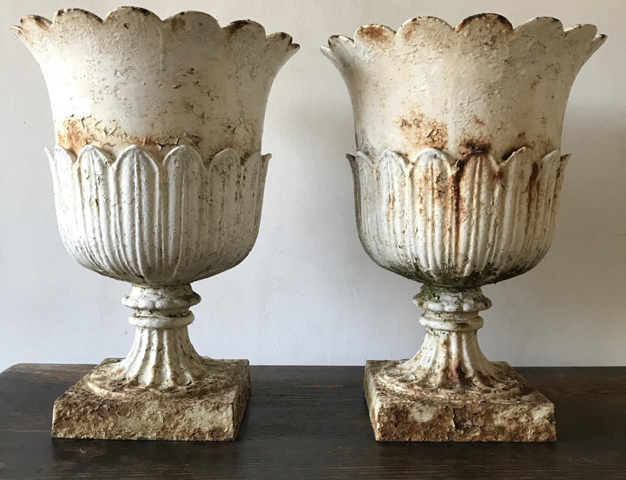 BEAUTIFUL PAIR OF 19TH CENTURY CAST IRON URNS