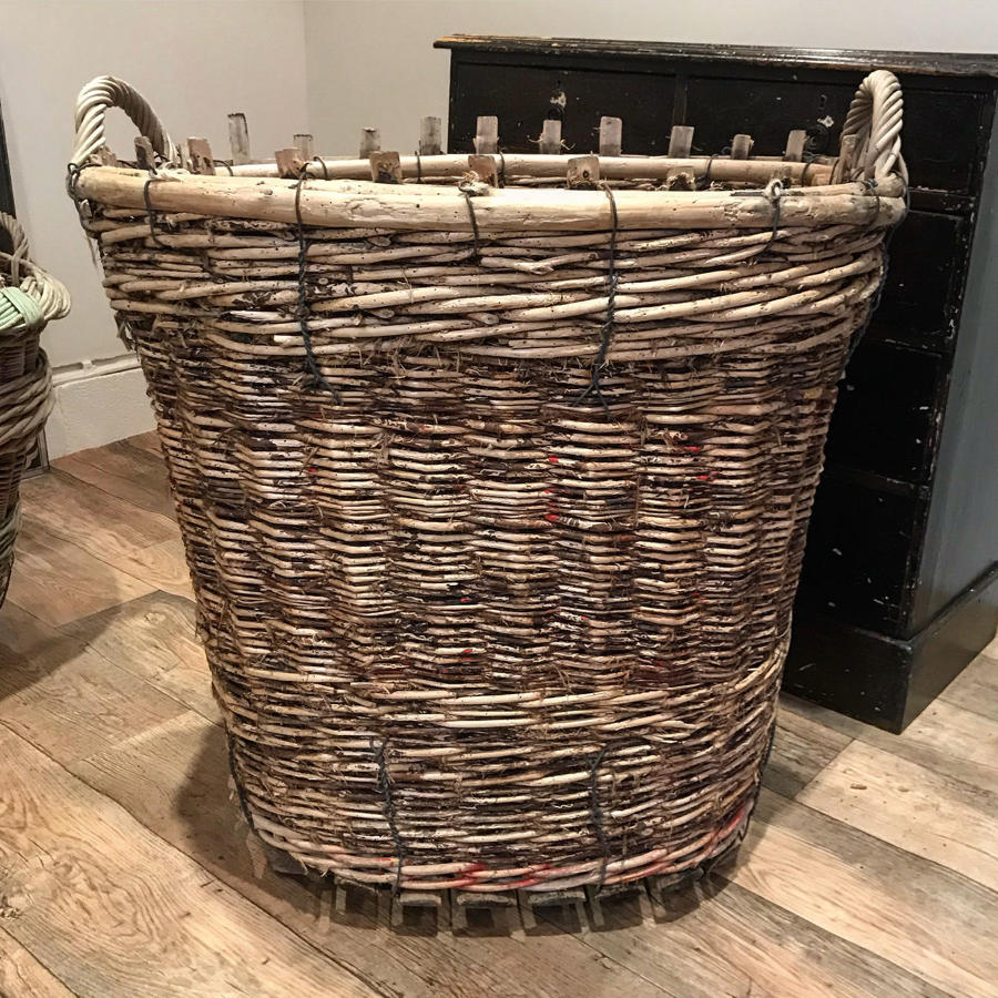 LARGE FRENCH VINEYARD GRAPE HARVEST BASKET