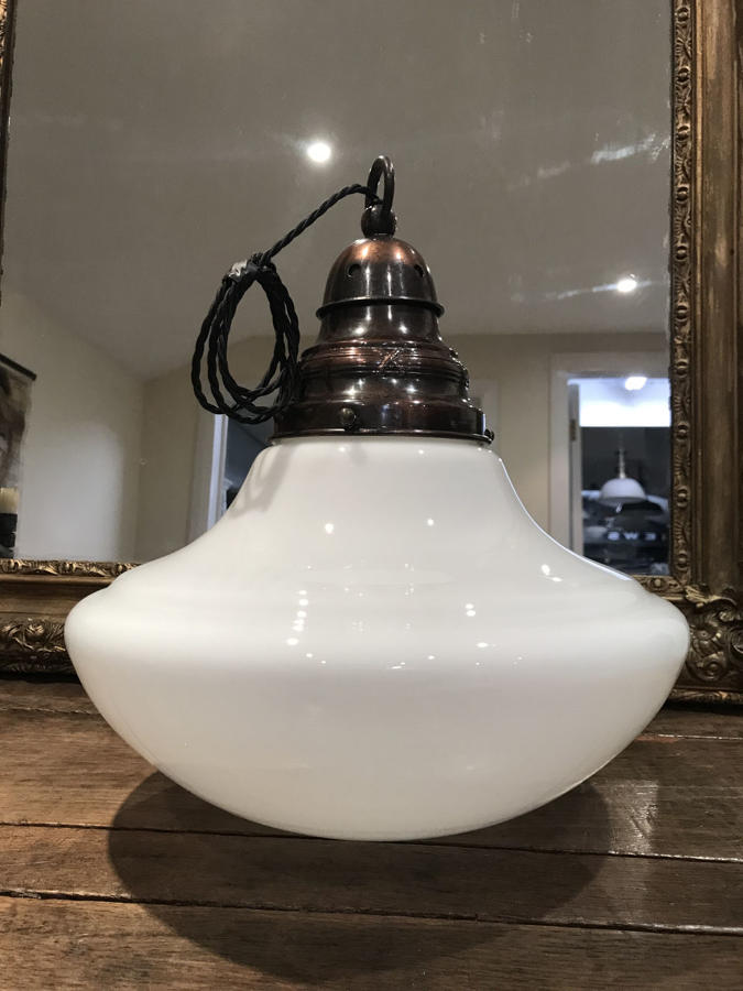 1920'S OPALINE PENDANT LIGHT