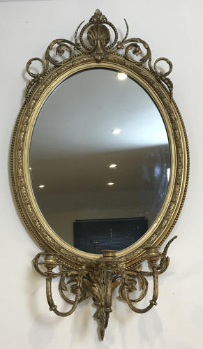 19TH CENTURY GIRANDOLE OVAL MIRROR