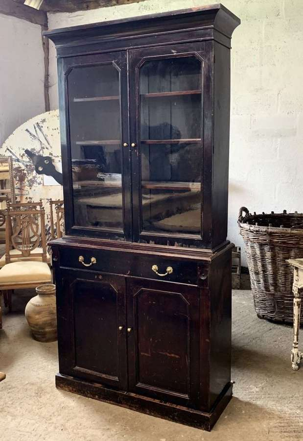 GEORGIAN EBONISED SHOP DISPLAY CABINET