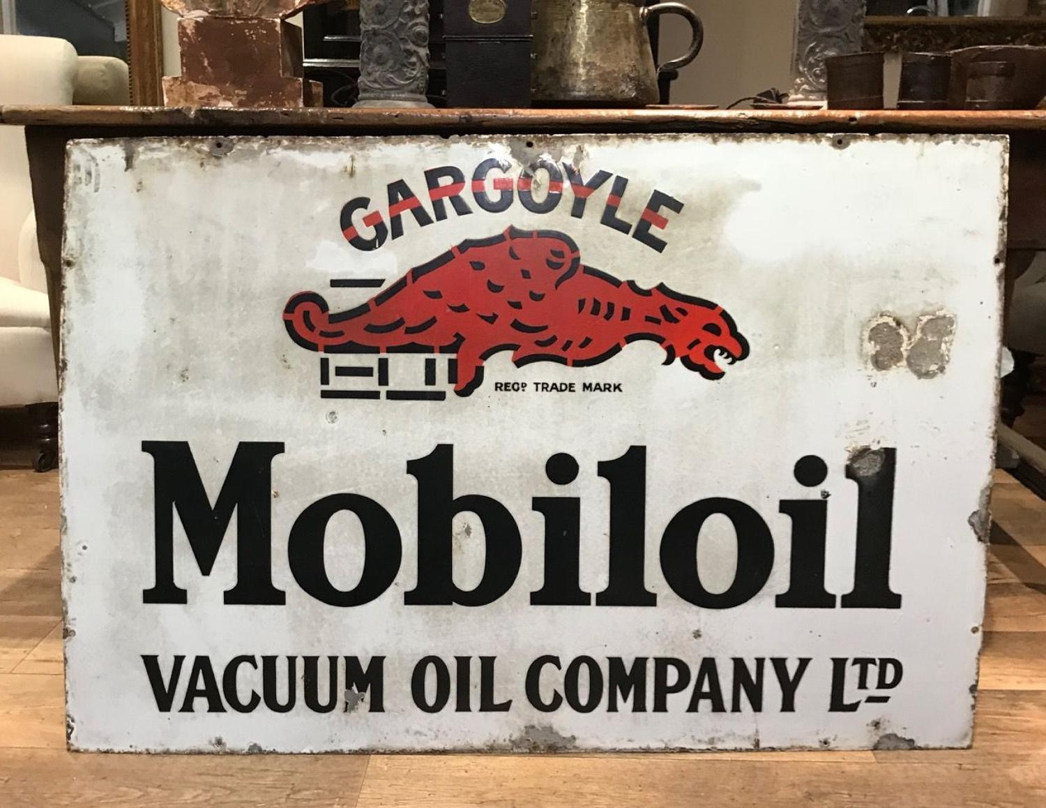 LARGE ENAMEL GARGOYLE MOBILOIL SIGN