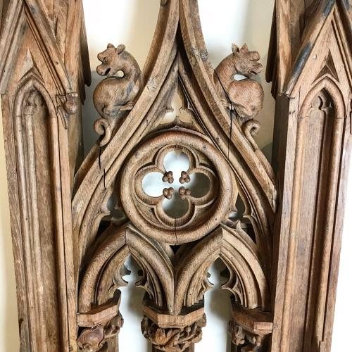 ANTIQUE CARVED OAK CHURCH PULPIT PANEL