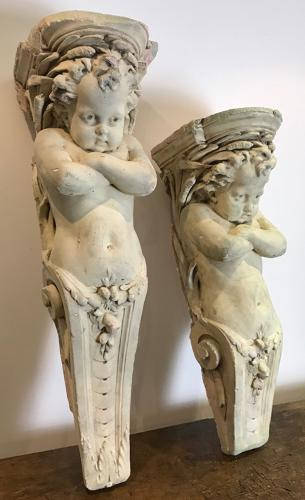 ANTIQUE CHERUB CORBELS