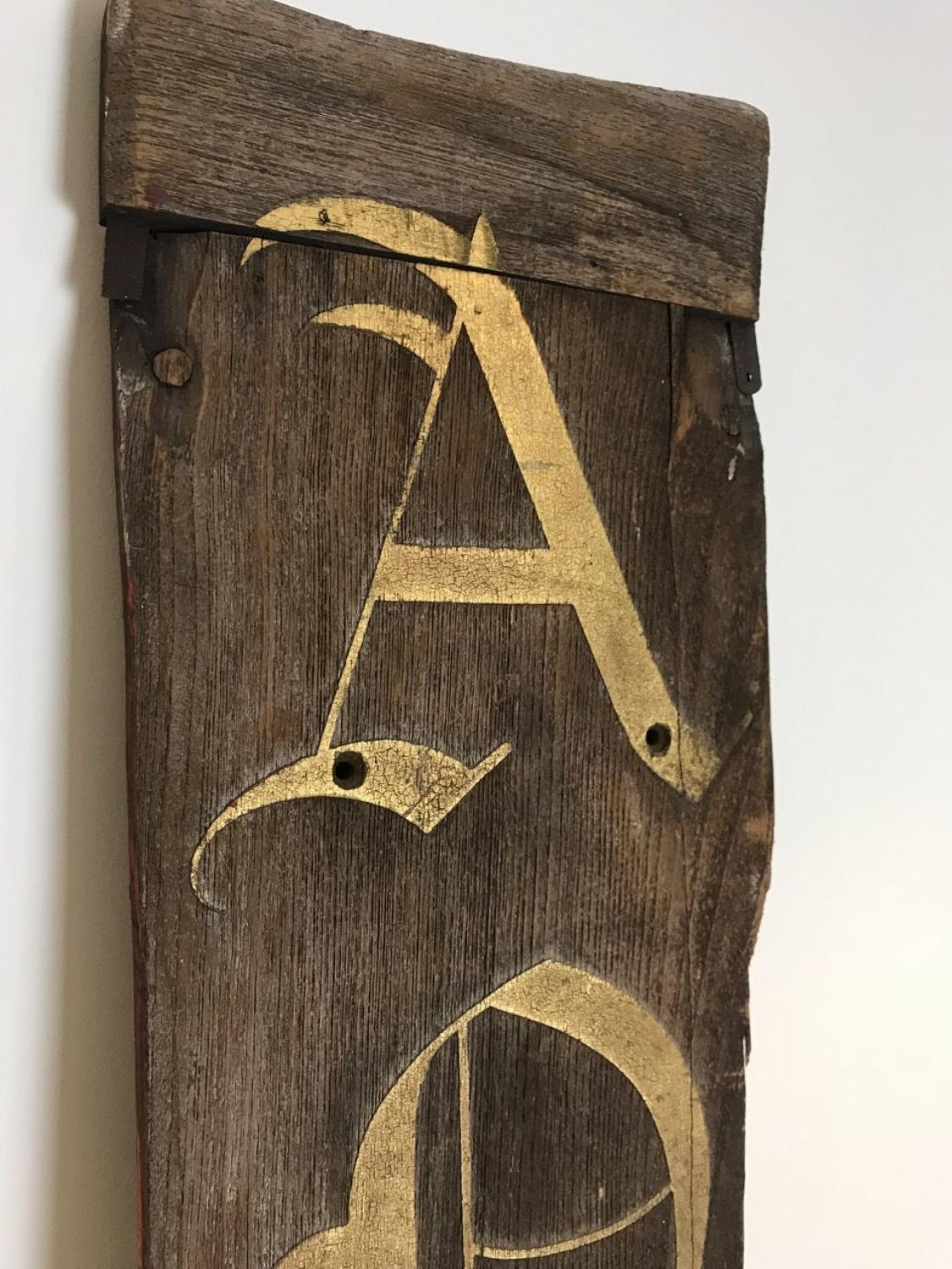 ANTIQUES CARVED OAK WOODEN SIGN