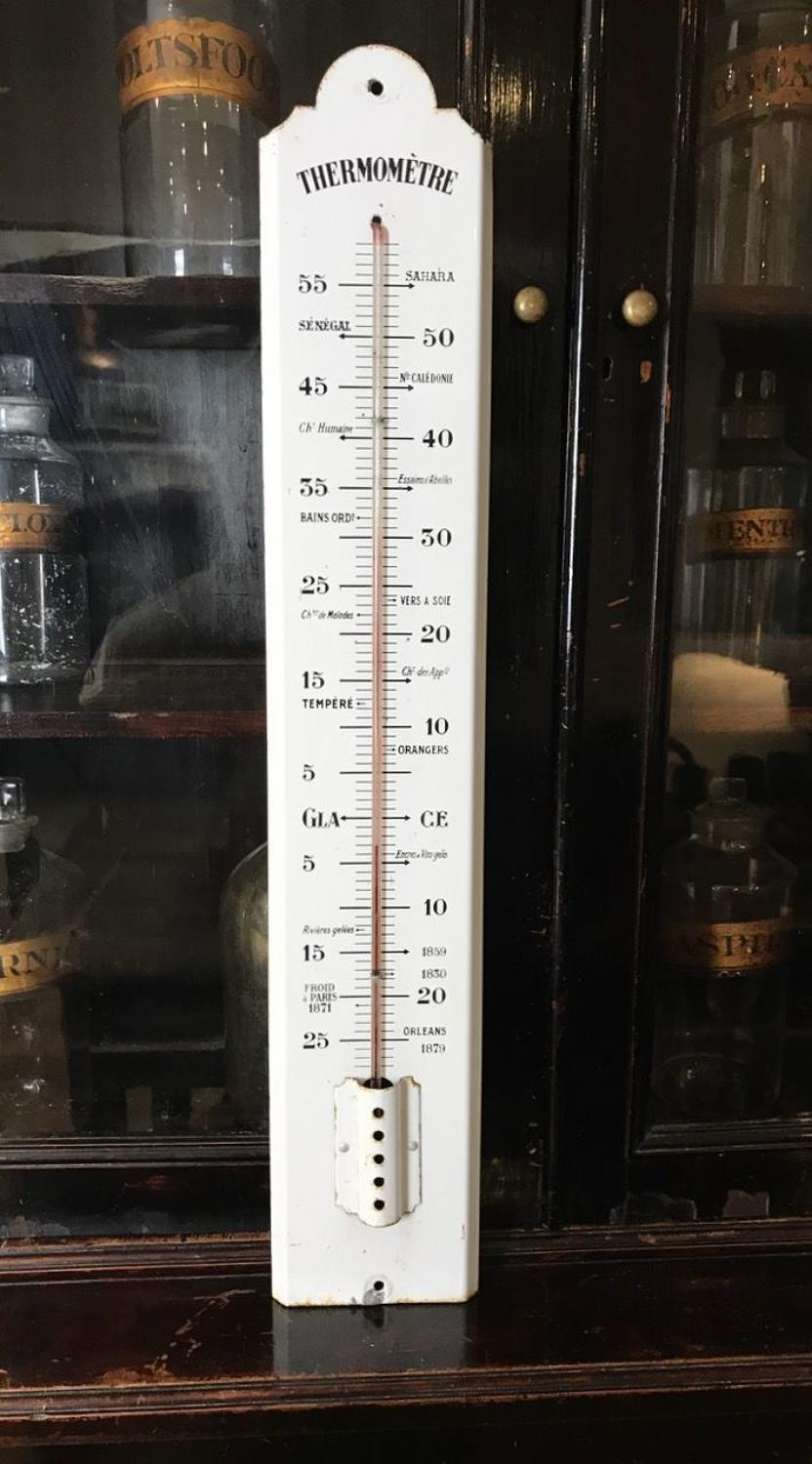 VINTAGE FRENCH ENAMEL THERMOMETER