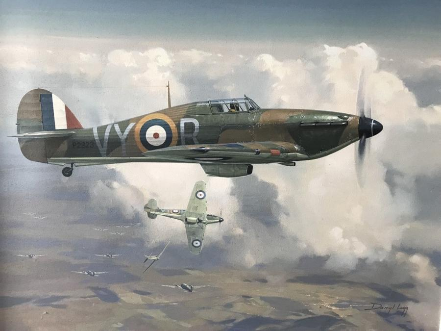 WW2 HAWKER HURRICANE OIL PAINTING