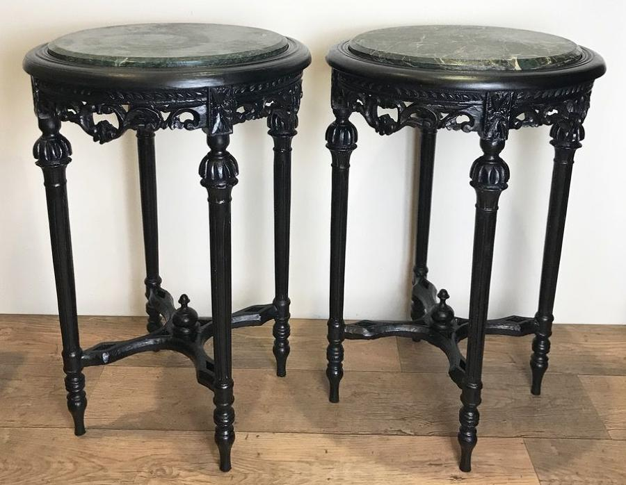 PAIR OF FRENCH MARBLE TOP TABLES