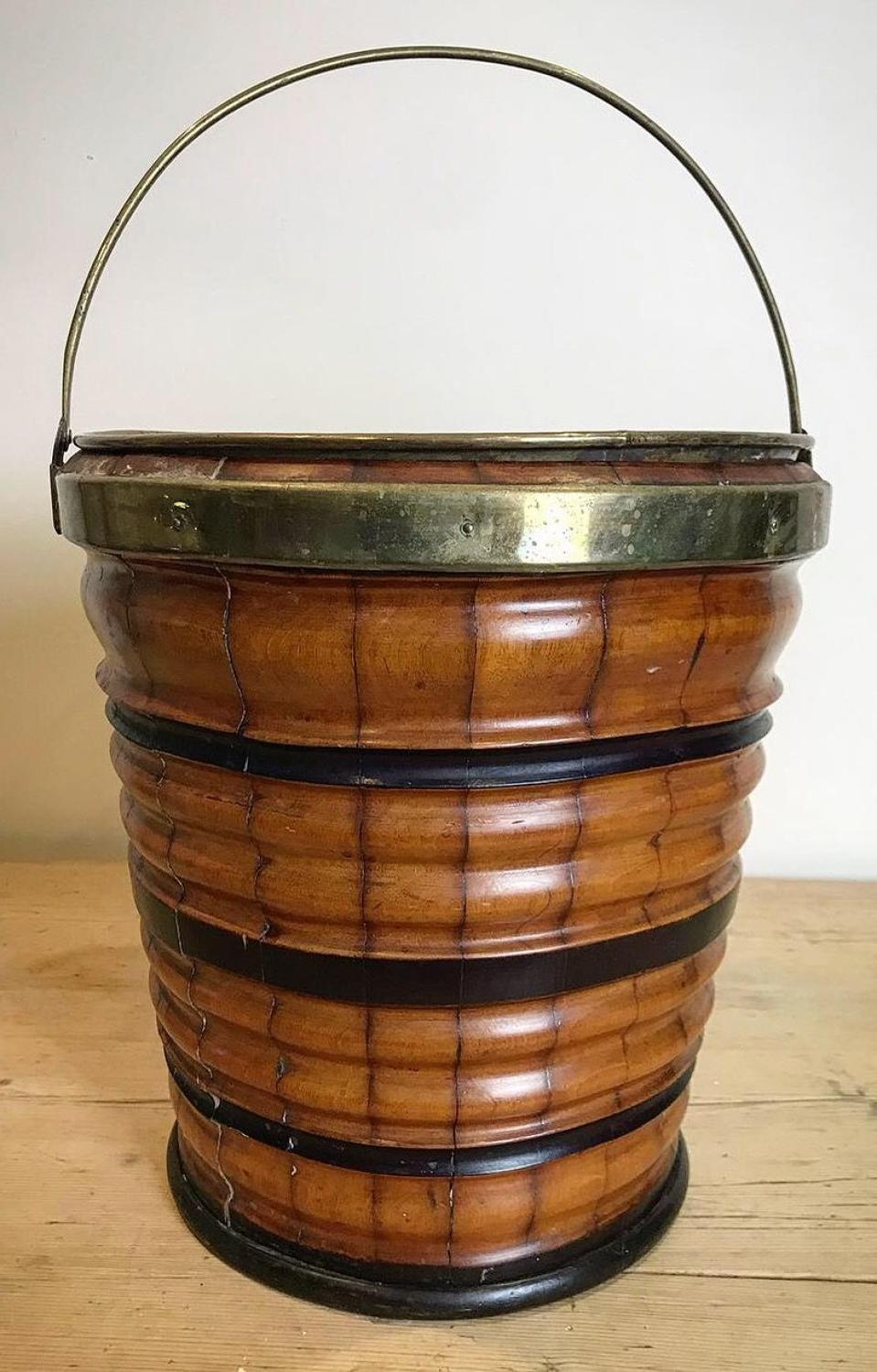 19TH CENTURY FRUIT WOOD PEAT BUCKET