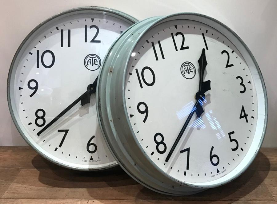PAIR OF LARGE INDUSTRIAL CLOCKS
