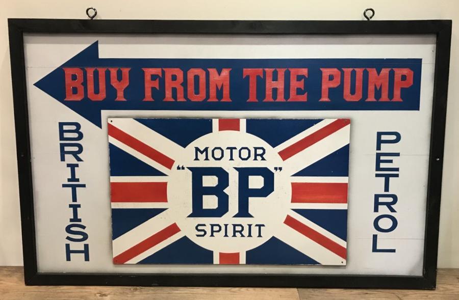VINTAGE PAINTED BP SPIRIT GARAGE SIGN