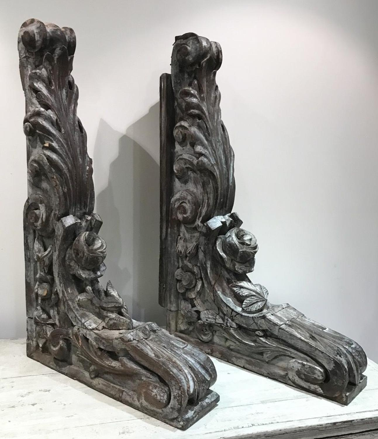 LARGE CARVED WOOD CORBELS