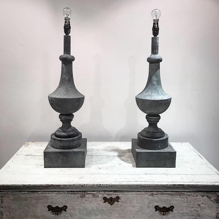 FRENCH ZINC FINIAL LAMPS