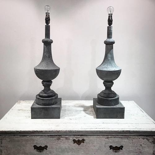 FRENCH ZINC FINIAL LAMPS