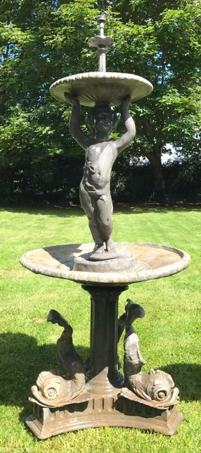 LARGE LEAD PUTTI GARDEN FOUNTAIN