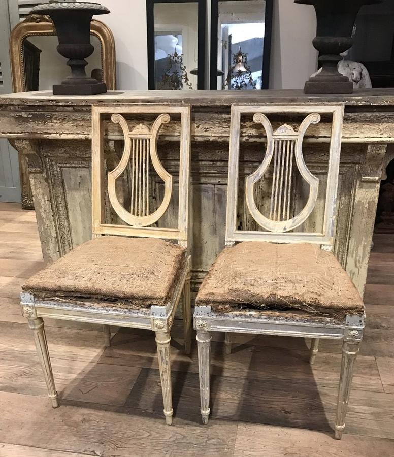 SET OF 4 LYRE BACK DINNING CHAIRS
