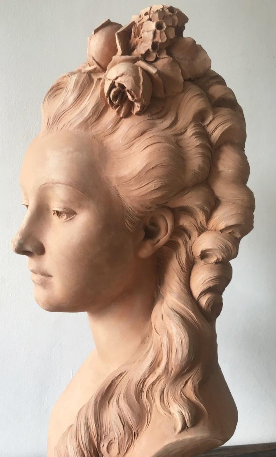 FRENCH TERRACOTTA BUST OF MADEMOISELLE LUZY