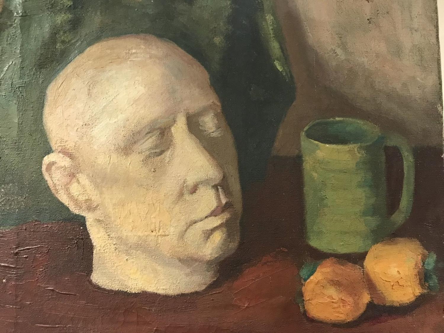 DEATH MASK OIL PAINTING