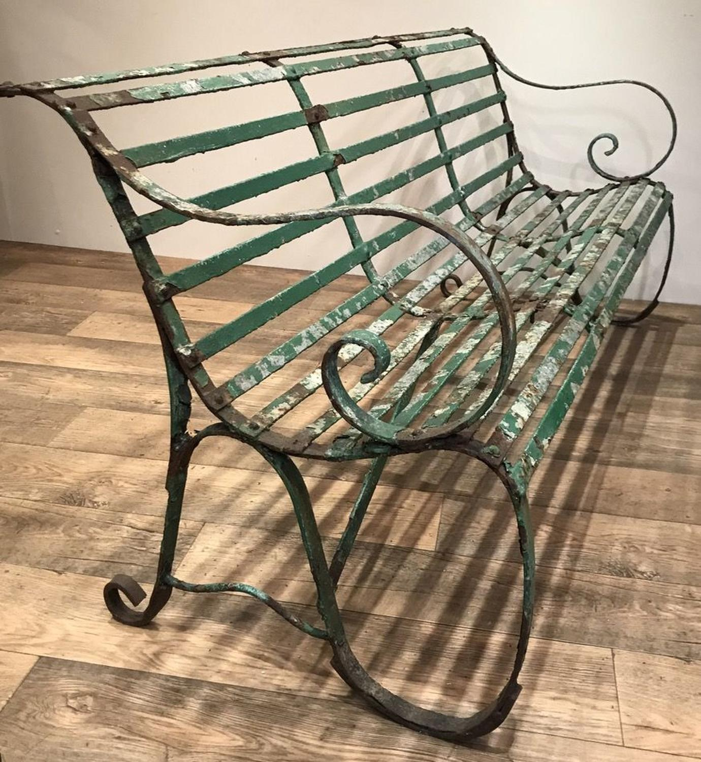 VICTORIAN WROUGHT IRON GARDEN BENCH