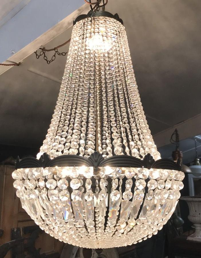 LARGE HAND CUT CRYSTAL CHANDELIER