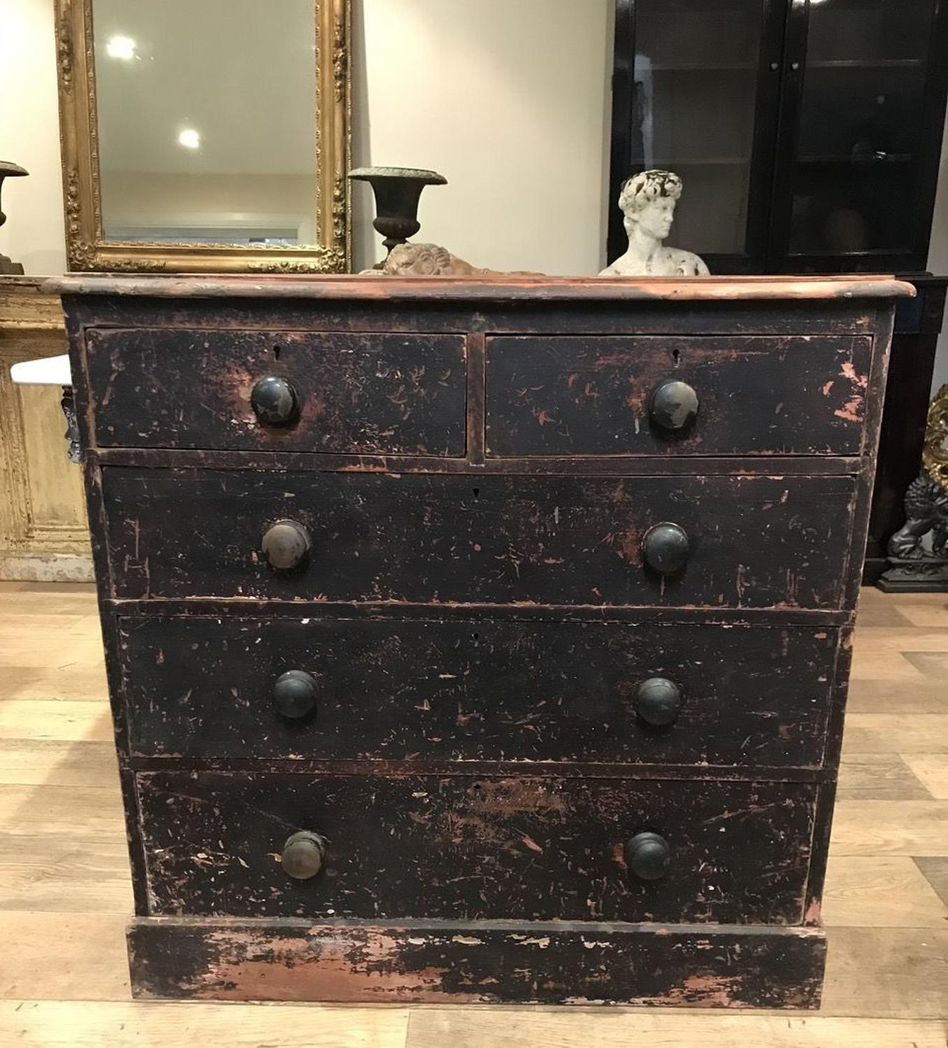 DISTRESSED VICTORIAN CHEST OF DRAWERS