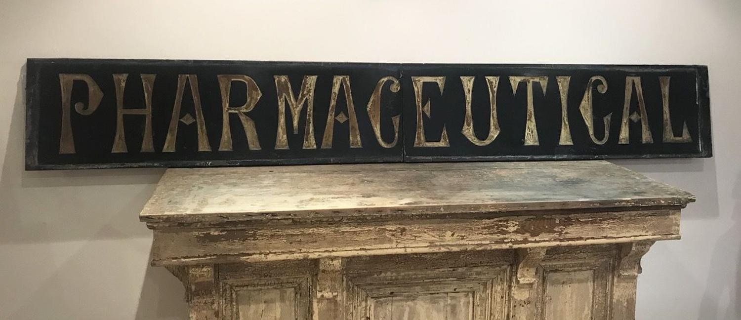 CARVED SLATE PHARMACEUTICAL SIGN
