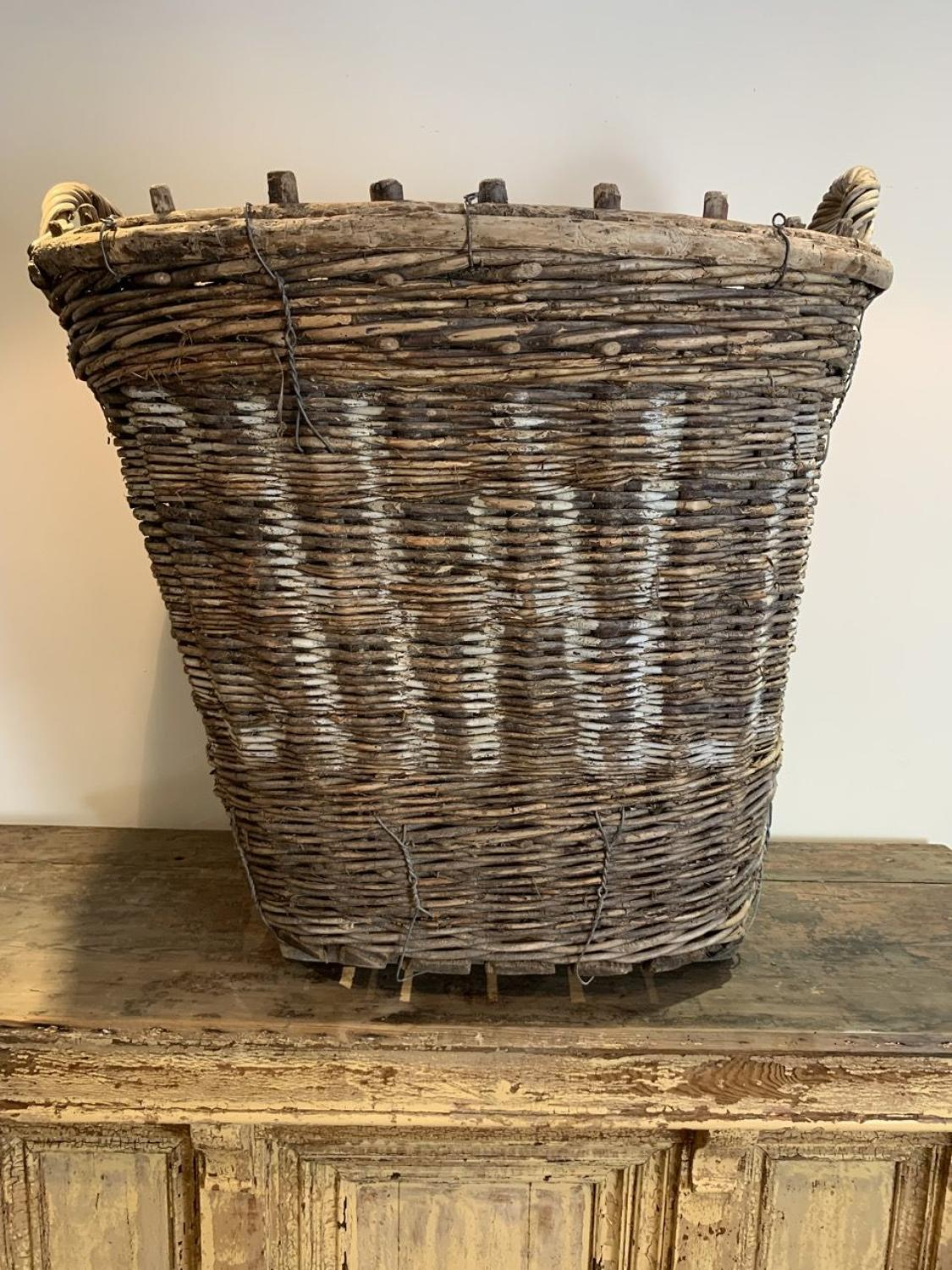 LARGE FRENCH GRAPE HARVESTING BASKET