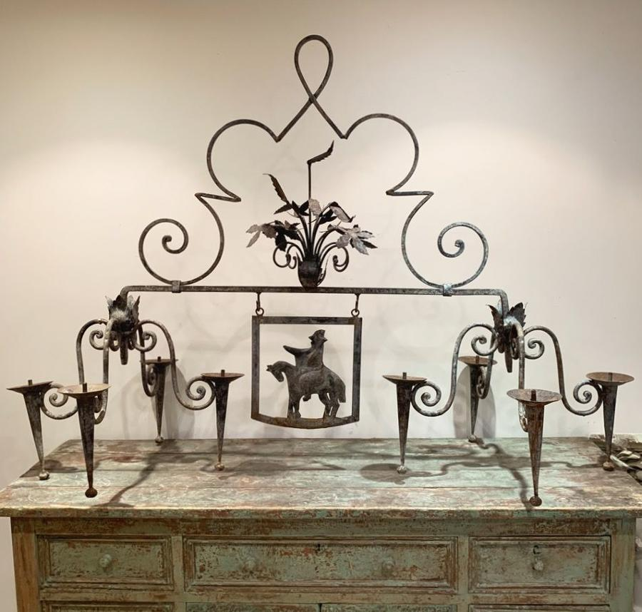 PAIR OF FRENCH IRON BESPOKE CHANDELIERS