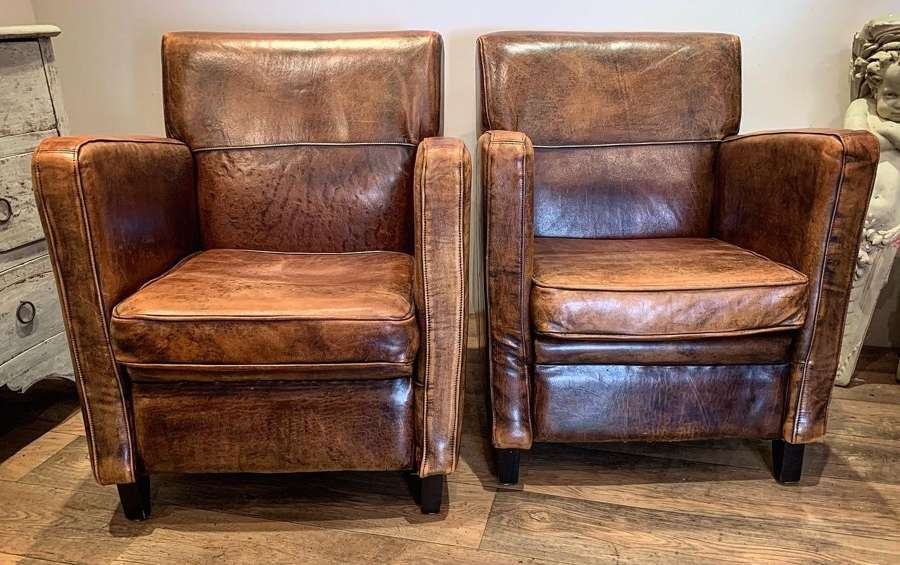DUTCH LEATHER ARMCHAIRS