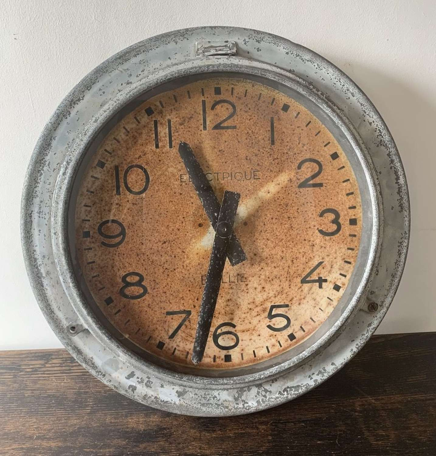 1950'S FRENCH ZINC CLOCK BY BRILLIE