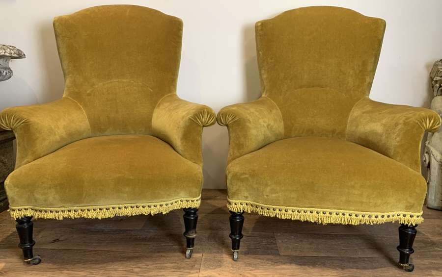 PAIR OF FRENCH NAPOLEON III ARMCHAIRS