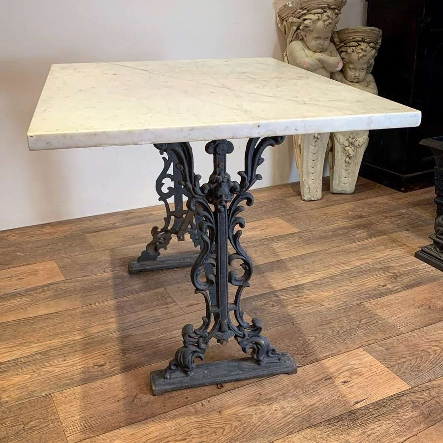 LARGE CAST IRON & MARBLE GARDEN TABLE