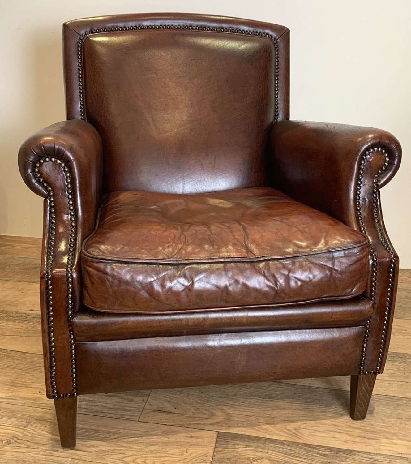 STUDDED DUTCH LEATHER ARMCHAIR in Furniture