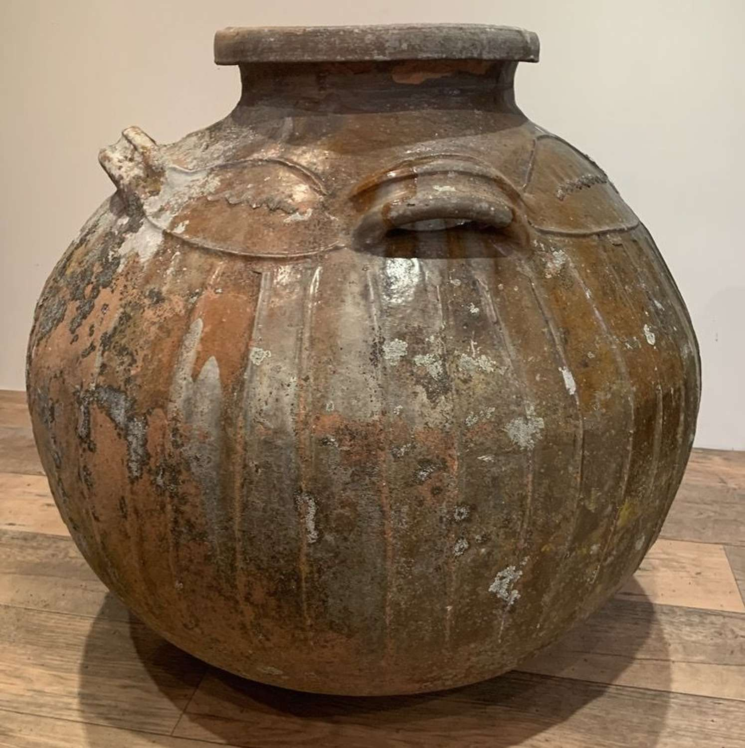 HUGE 18TH CENTURY TERRACOTTA WALNUT STORAGE POT