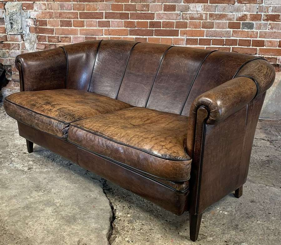 VINTAGE DUTCH SHEEP LEATHER SOFA