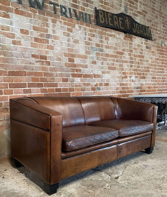 Art Deco Style Leather Sofa
