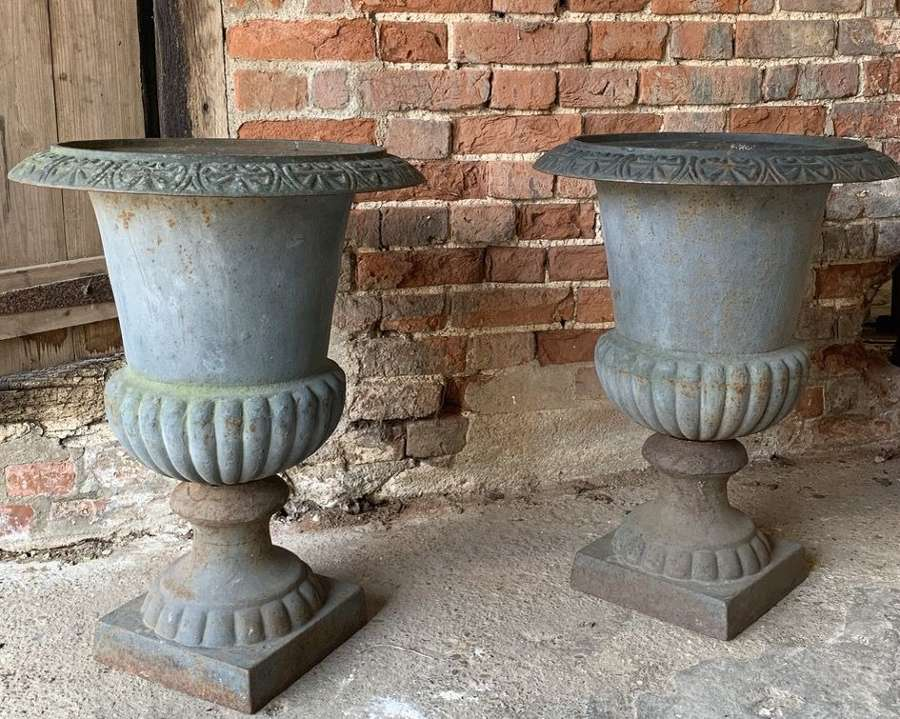 LARGE ANTIQUE CAST IRON GARDEN URNS