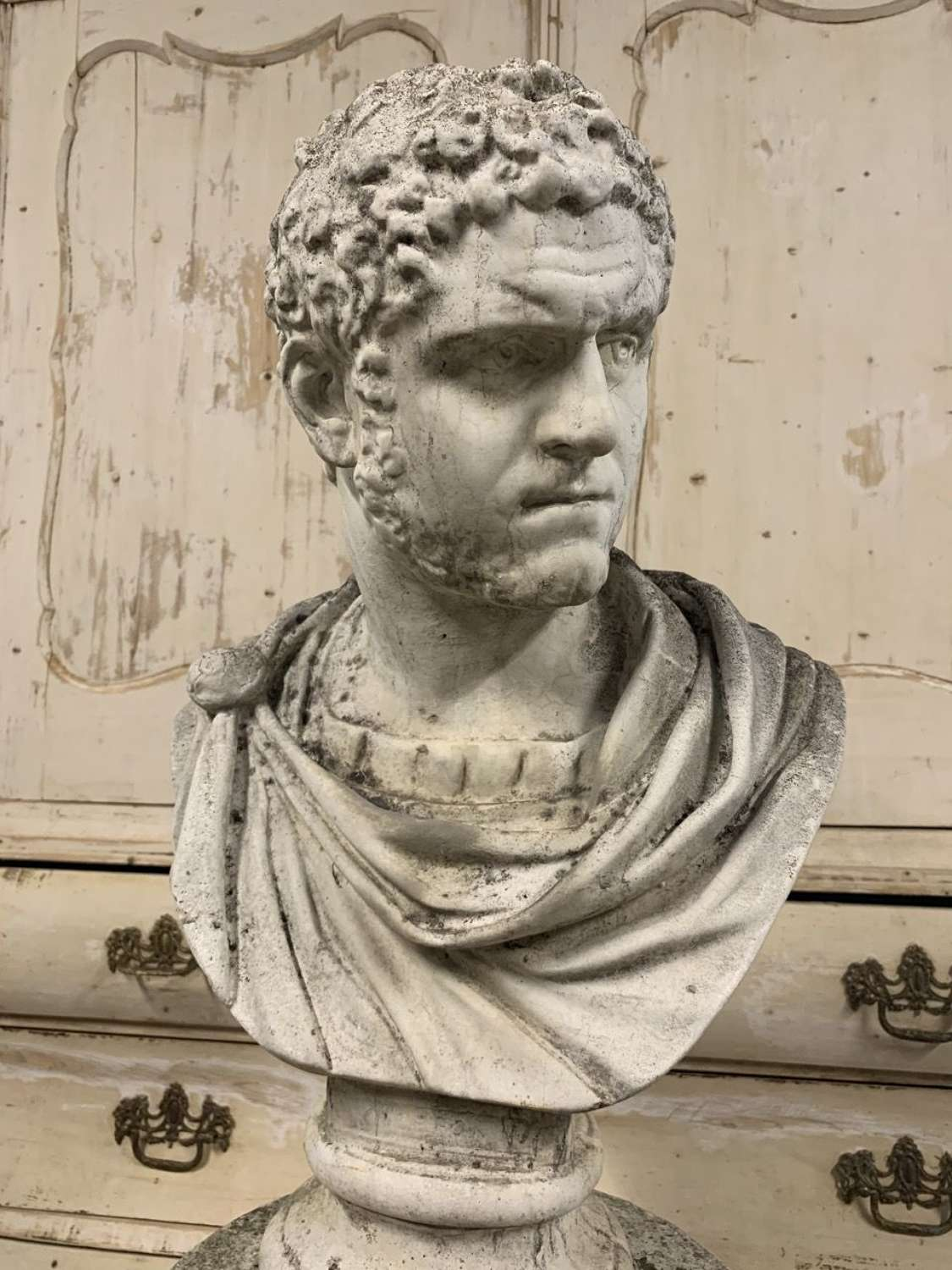 ROMAN CARACALLA BUST AND PEDESTAL