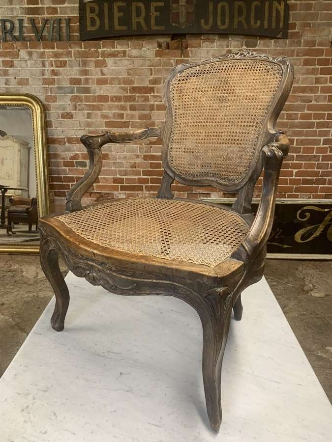 18TH CENTURY FRENCH WALNUT & CANE CHAIR