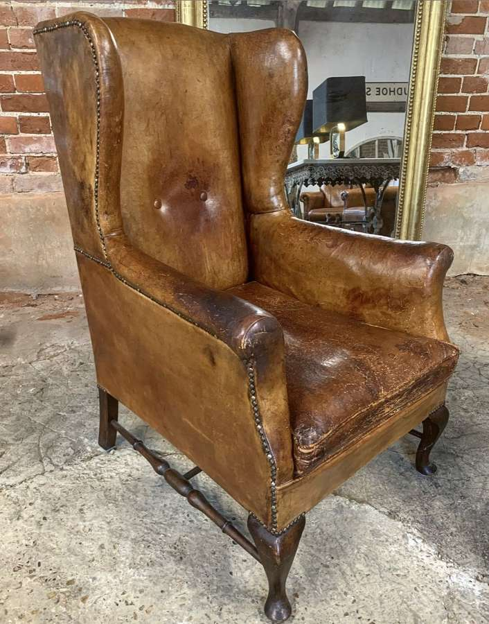 ENGLISH LEATHER WINGBACK CHAIR