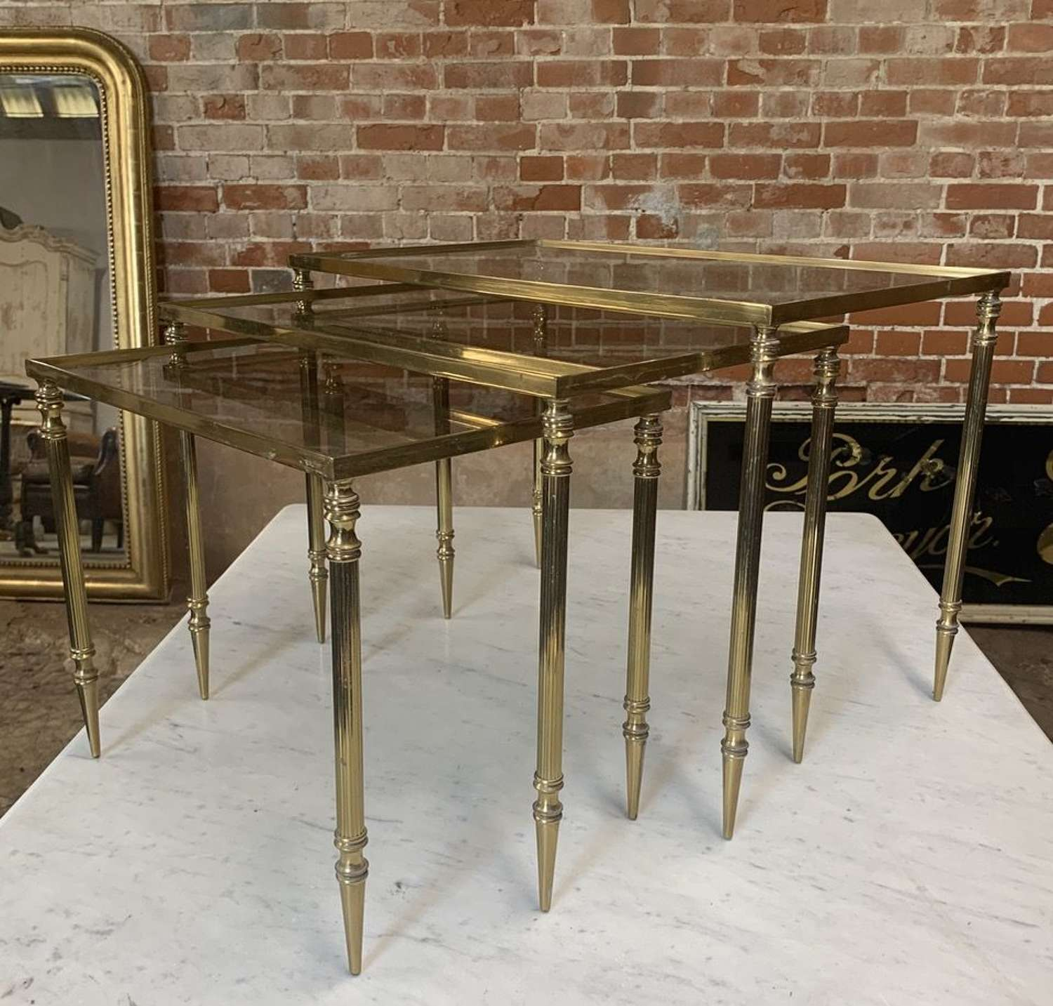MID CENTURY BRASS NEST OF TABLES